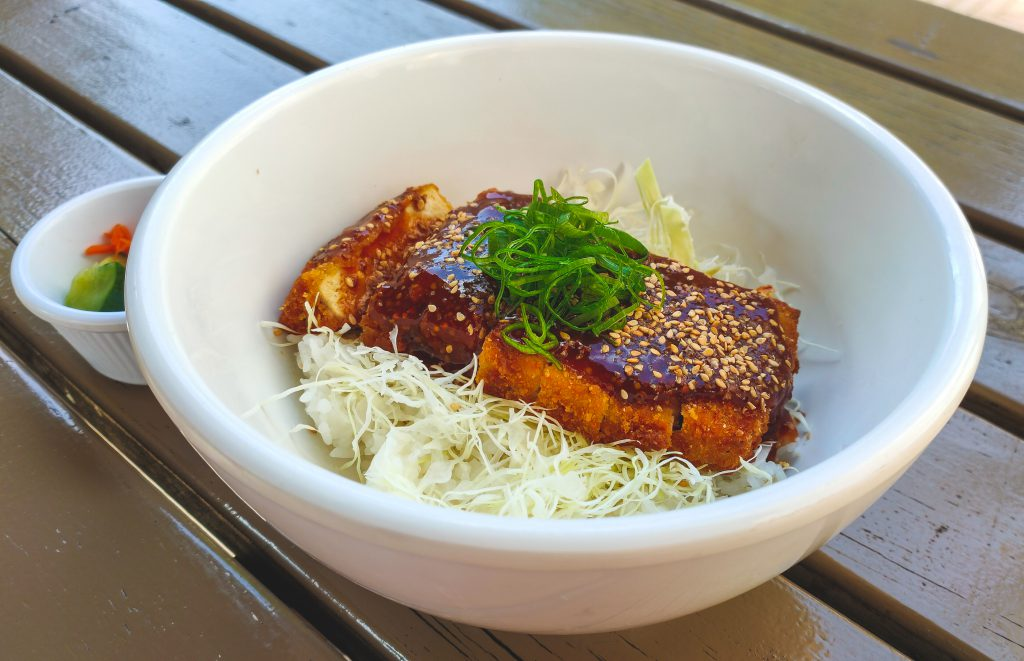 rice bowl with cripsy tofu and sauce